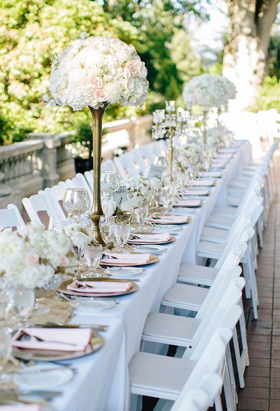 Classic outdoor white and pink floral wedding reception centerpieces; Featured Photographer: Crispin Cannon Photography