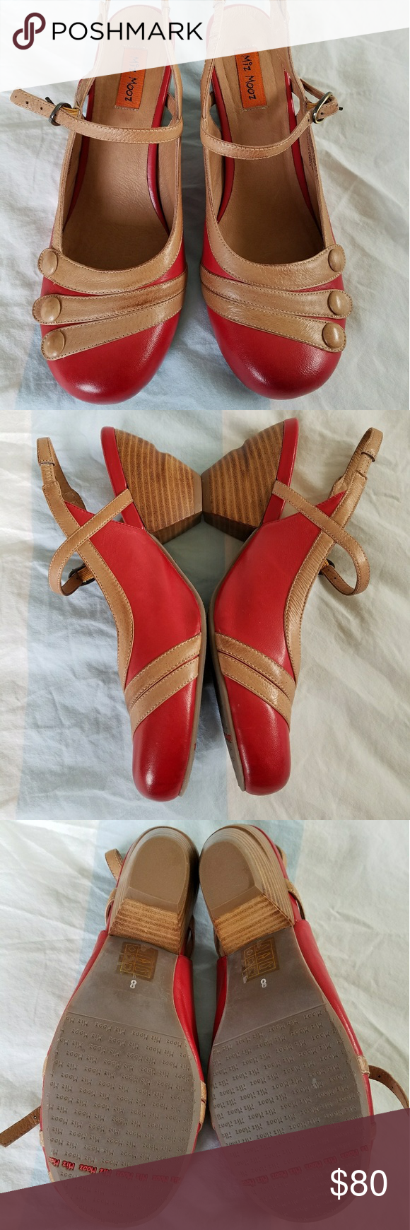 Brand New Miz Mooz Ella size 8 Never been worn except to try on! Miz Mooz red and brown tan! Size 8. These have been sitting in my closet for years and I have just never had the chance to wear them. Miz Mooz Shoes Wedges