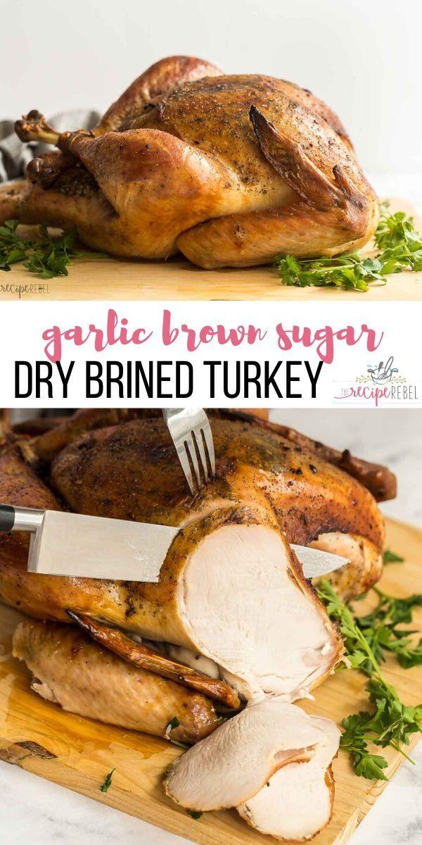 this garlic brown sugar dry brine turkey is perfectly