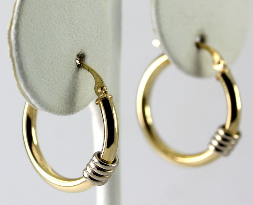 Two Tone 14k White & Yellow Gold Wire Wrapped Hoop Earrings | Gold wire