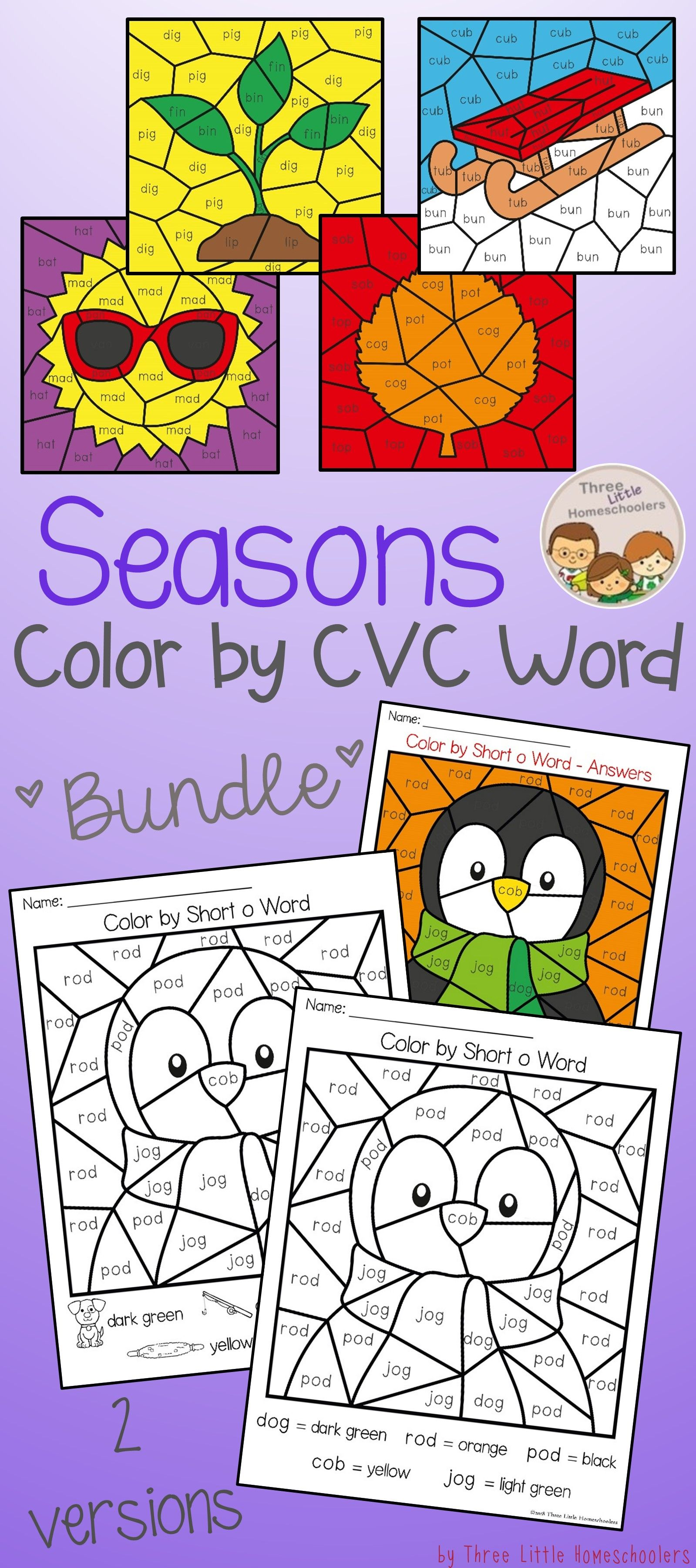 Seasons Themed Color By Cvc Word Puzzles Covering Short A