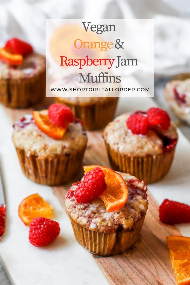 Vegan Orange Raspberry Jam Muffins