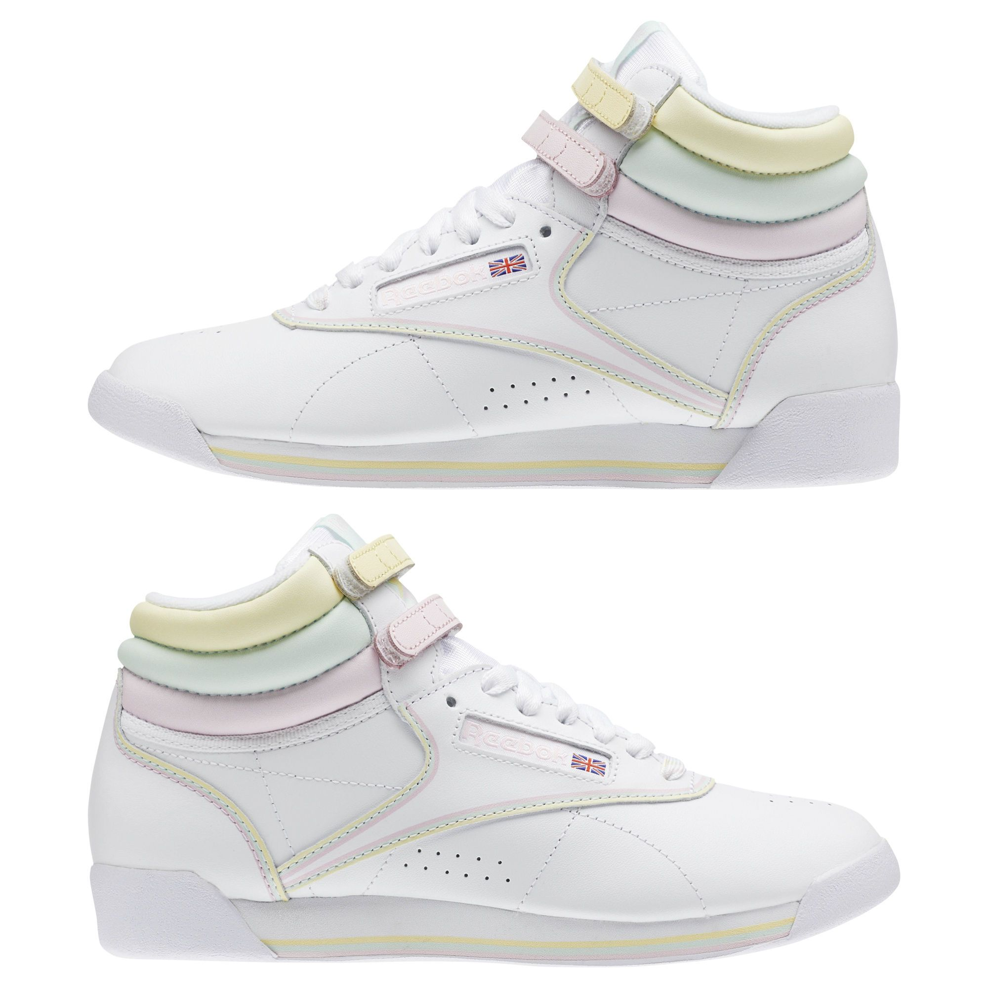 5d965f3bf3d Reebok Women s Freestyle Hi x GLOW in Glow   White   Pink   Green ...
