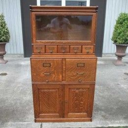 Antiques By Design   Shaw Walker 4 Section Oak Stacking File Cabinet /  Bookcase