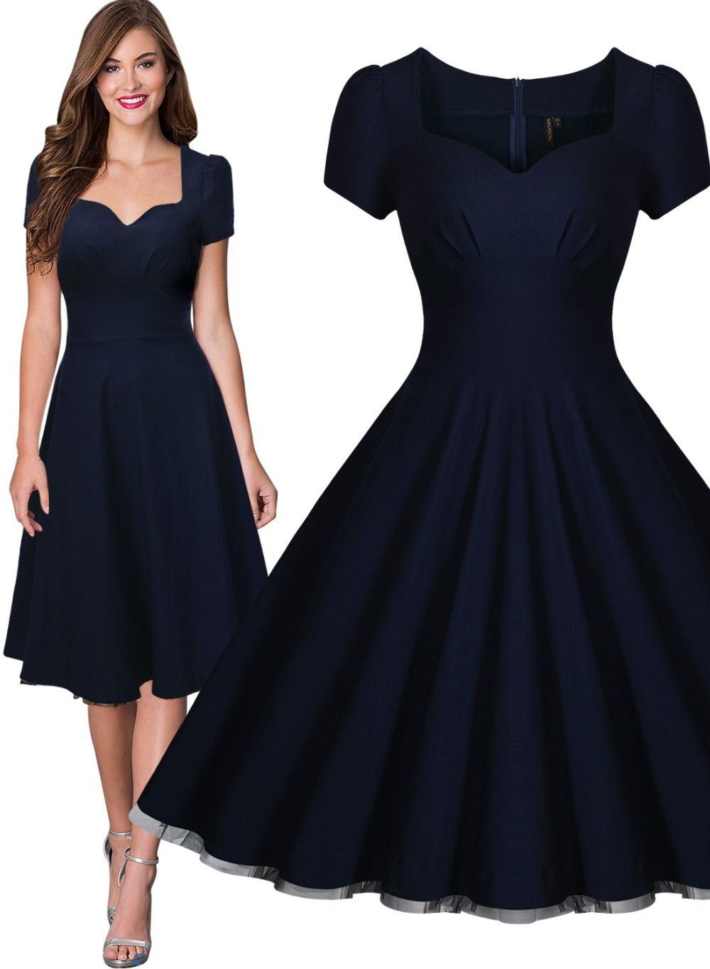 25a4934b39b14 Free shipping Women's Vintage Style Retro 1940s Shirtwaist Flared ...