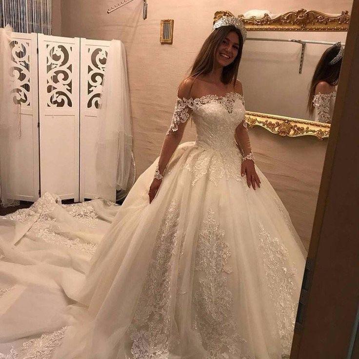 Luxury Brautkleider Spitze Mit Lange Armel Prinzessin Hochzeitskleider Gunstig Online Brautkleider Abiballk Gunstige Hochzeitskleider Hochzeitskleid Brautkleid