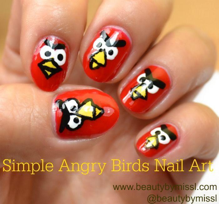 NOTD+tutorial: Simple Angry Birds Nail Art | Angry brids, Bird nail ...