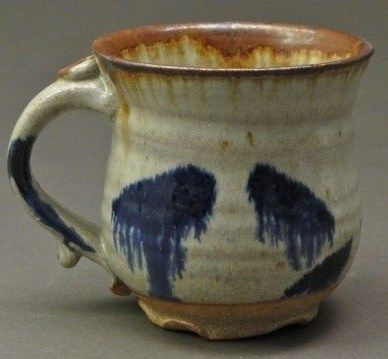 Stoneware Pottery Coffee Mug With Wood Ash Nuka Glaze And Rust And Cobalt Blue Stains