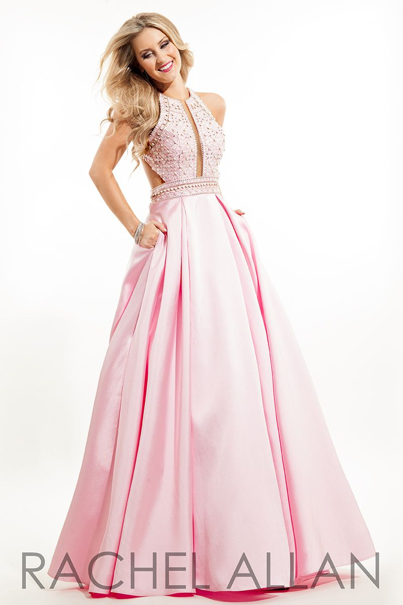 b293c5dfb35 Rachel Allan 7206 - Mikado ball gown prom dress with beaded top and racer  cut-out back #ipaprom
