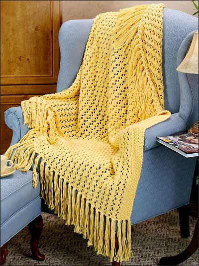 Openwork Lace Knitting Pattern : Afghan & Throw Knitting - Textured Afghan Knitting ...
