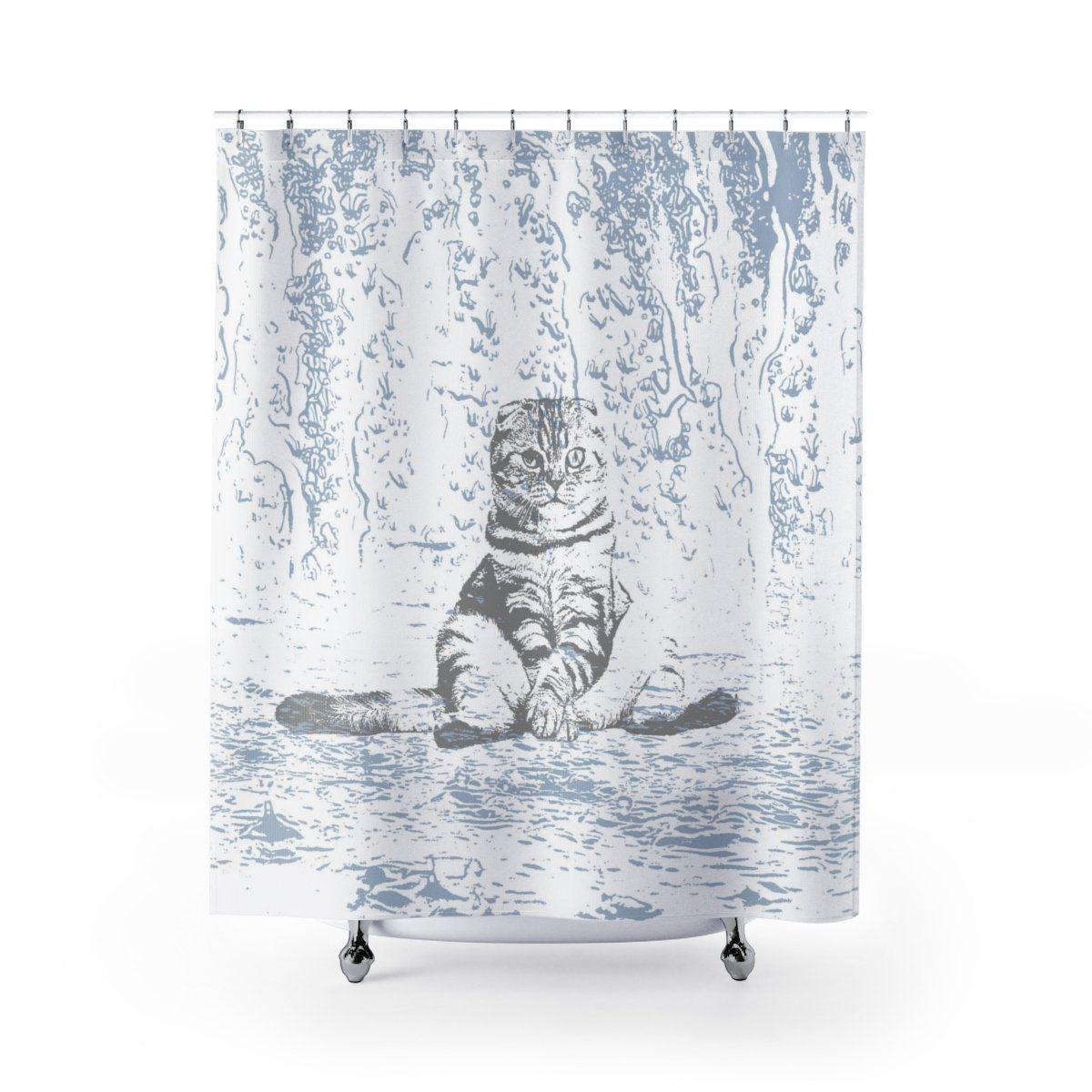 Grumpy Wet Cat Shower Curtain Cat Shower Curtain Funny Shower