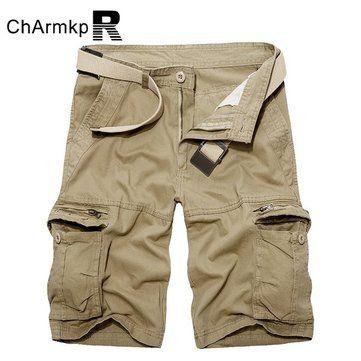 4dec54268783c ChArmkpR Men Plus Size Military Loose Big Pockets Multicolor Cargo Shorts -  NewChic