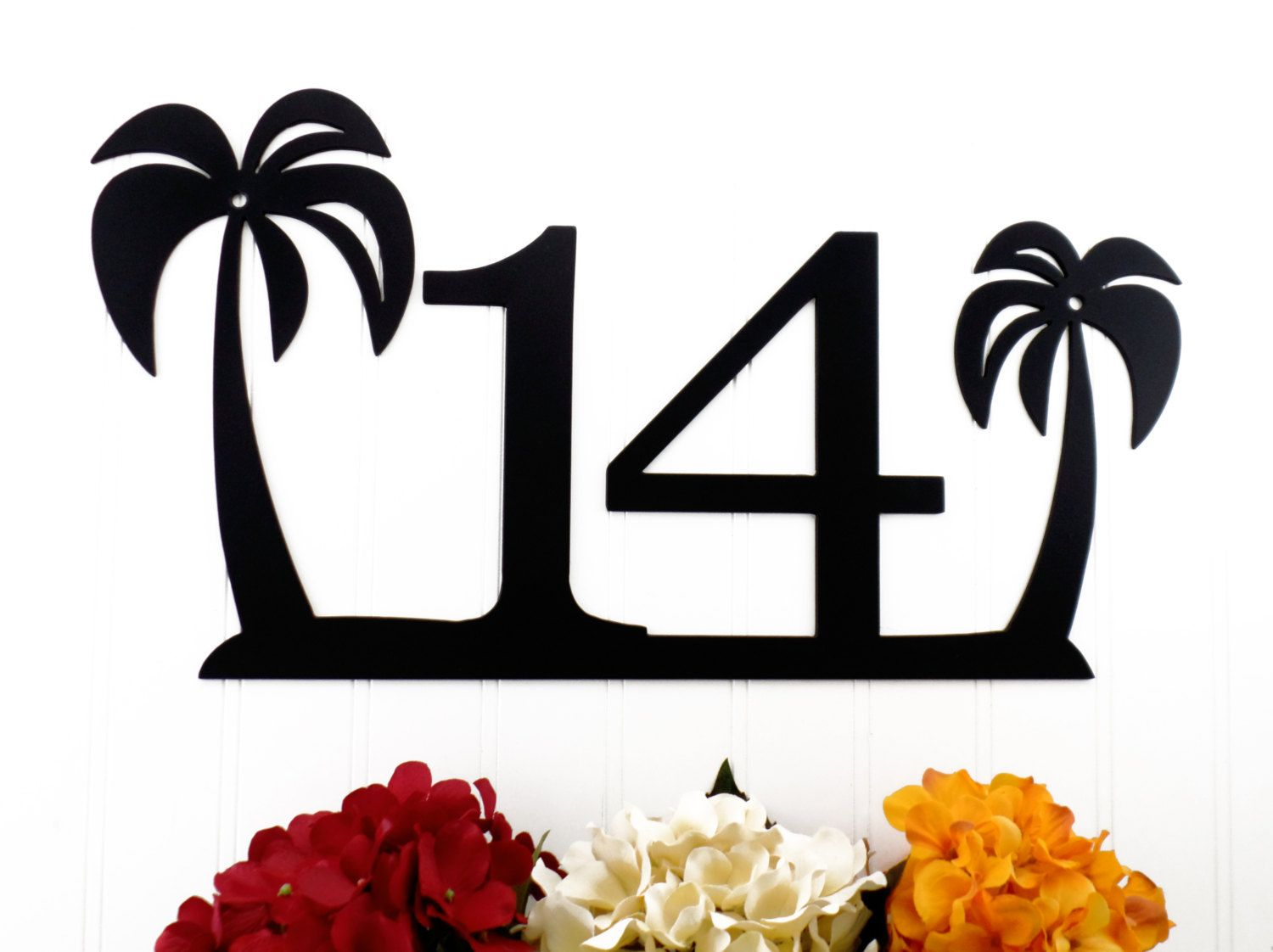 Tropical Palm Tree House Number Metal Sign
