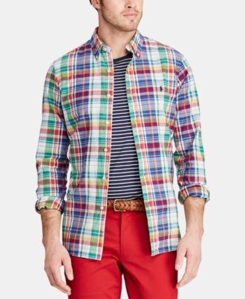 ec2660b7daa0c Polo Ralph Lauren Men s Classic-Fit Madras Shirt - Shamrock navy Multi XL