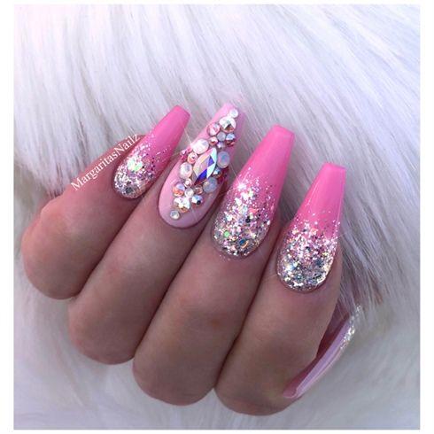 glitter ombré pink bling coffin nailsmargaritasnailz