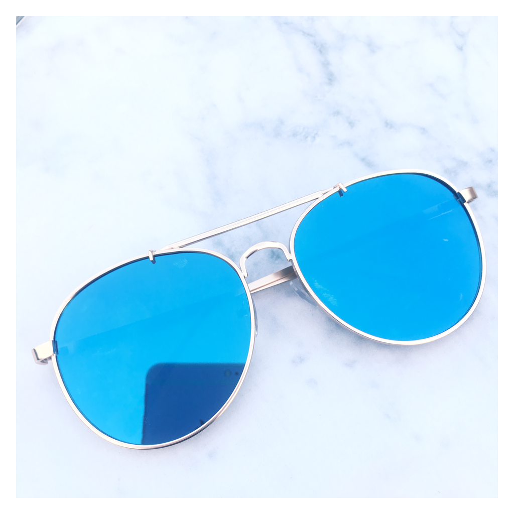 eaa0cf256f86e Blue Mirrored Aviator Sunglasses