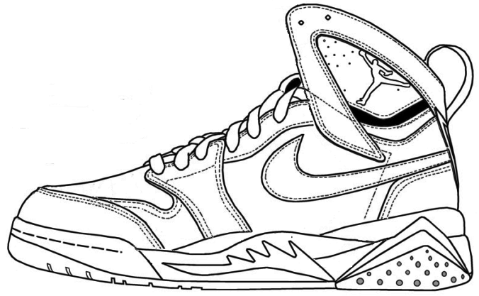 Air Jordan Shoe Coloring Pages Printable 1 Nike Shoes Jordans Jordans Sneakers Sketch