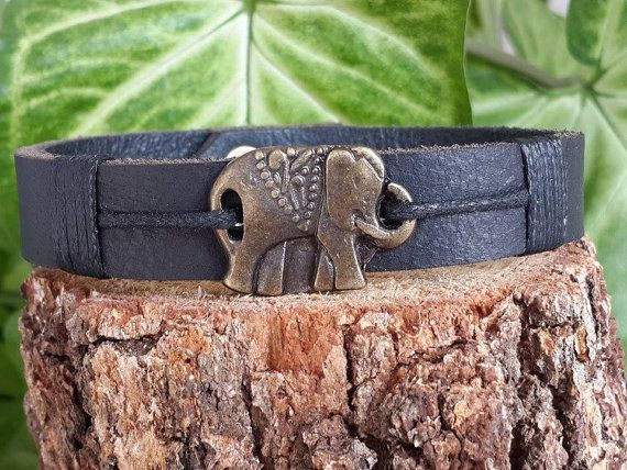 Spiritual Elephant Bracelet, Mens Womens Leather Bracelet, Elephant Leather Jewelry, Good Luck, Strength, Cuff Bracelet,Boho Style