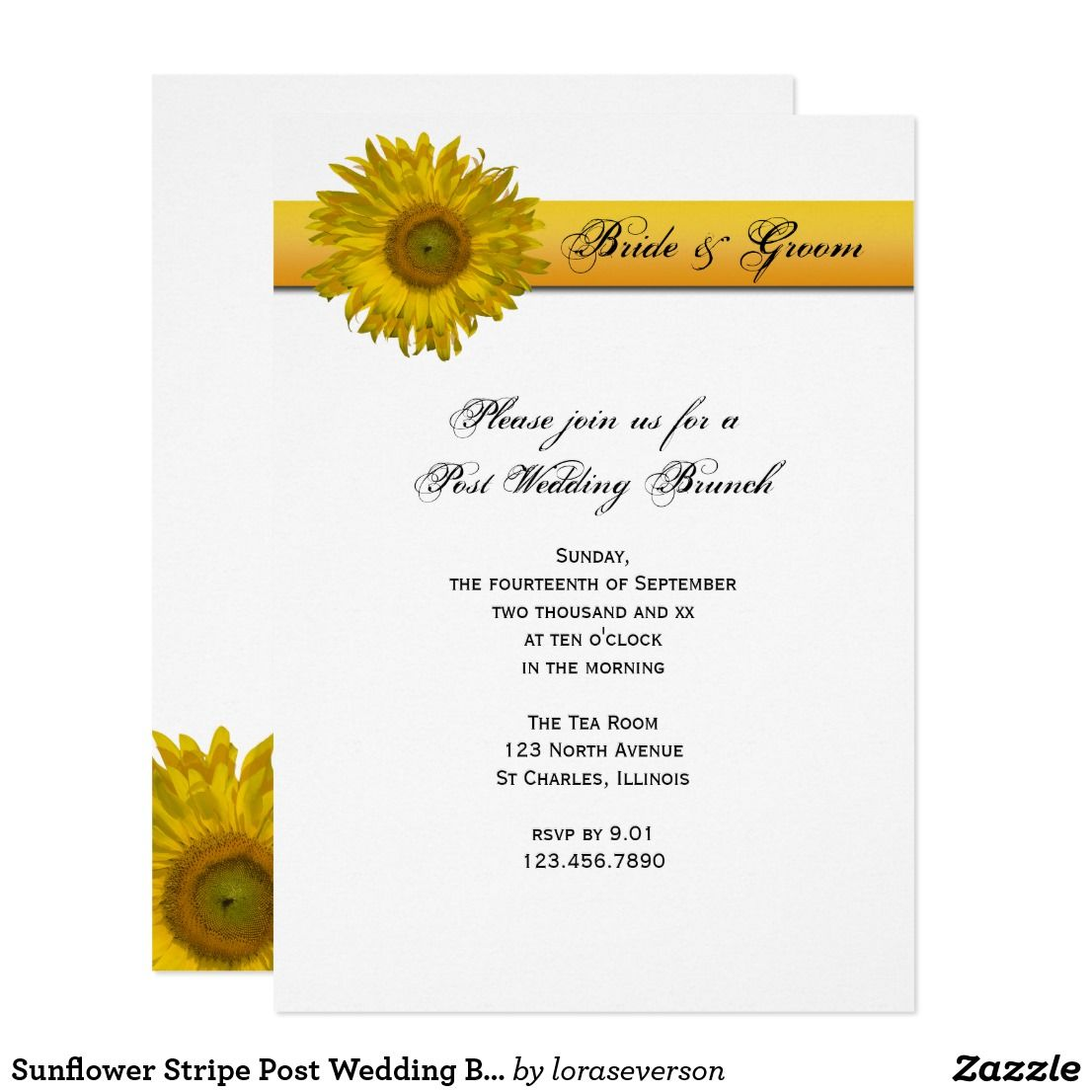 Sunflower Stripe Post Wedding Brunch Invitation | Brunch invitations ...