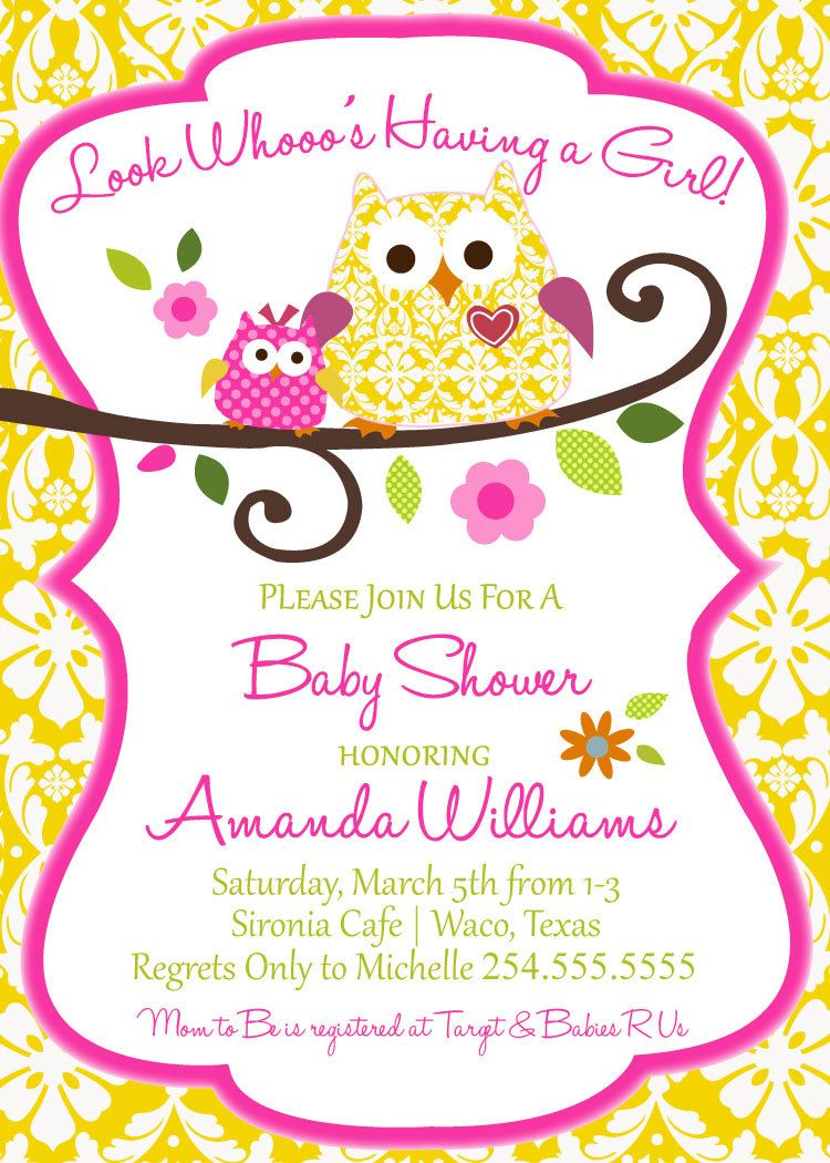 Owl Baby Shower Invitation-Digital File Only | Shower invitations ...