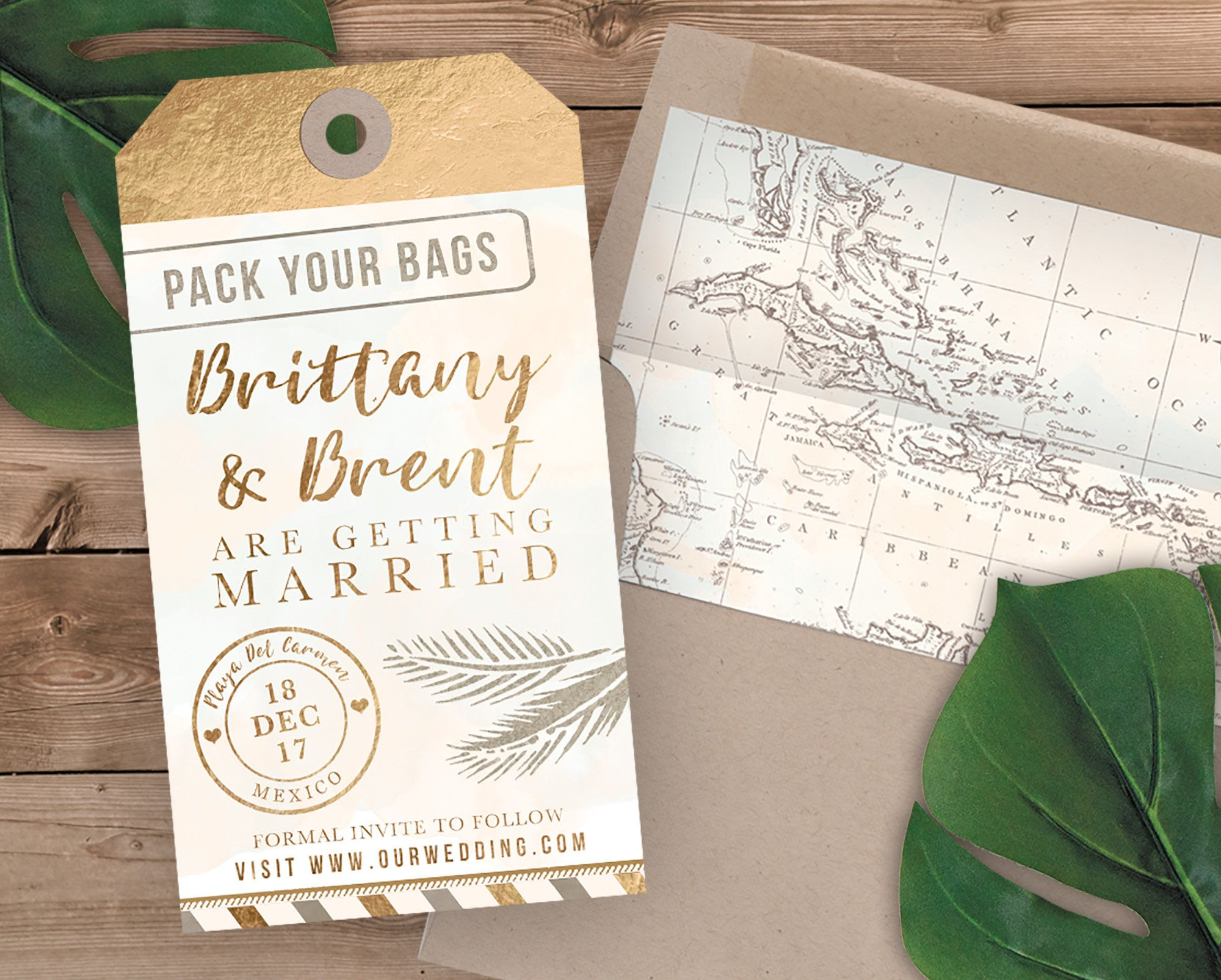 Destination wedding luggage tag shaped save the date save