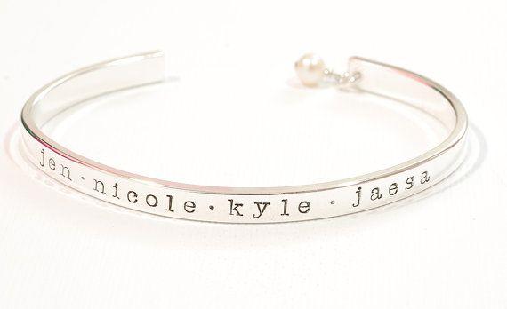 handstamped cuff bracelet . sterling silver . personalized . custom . hand stamped jewelry . maryreginadesigns