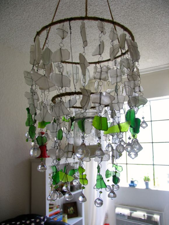Diy Sea Glass Chandelier By Ecospired Com Sea Glass Chandelier