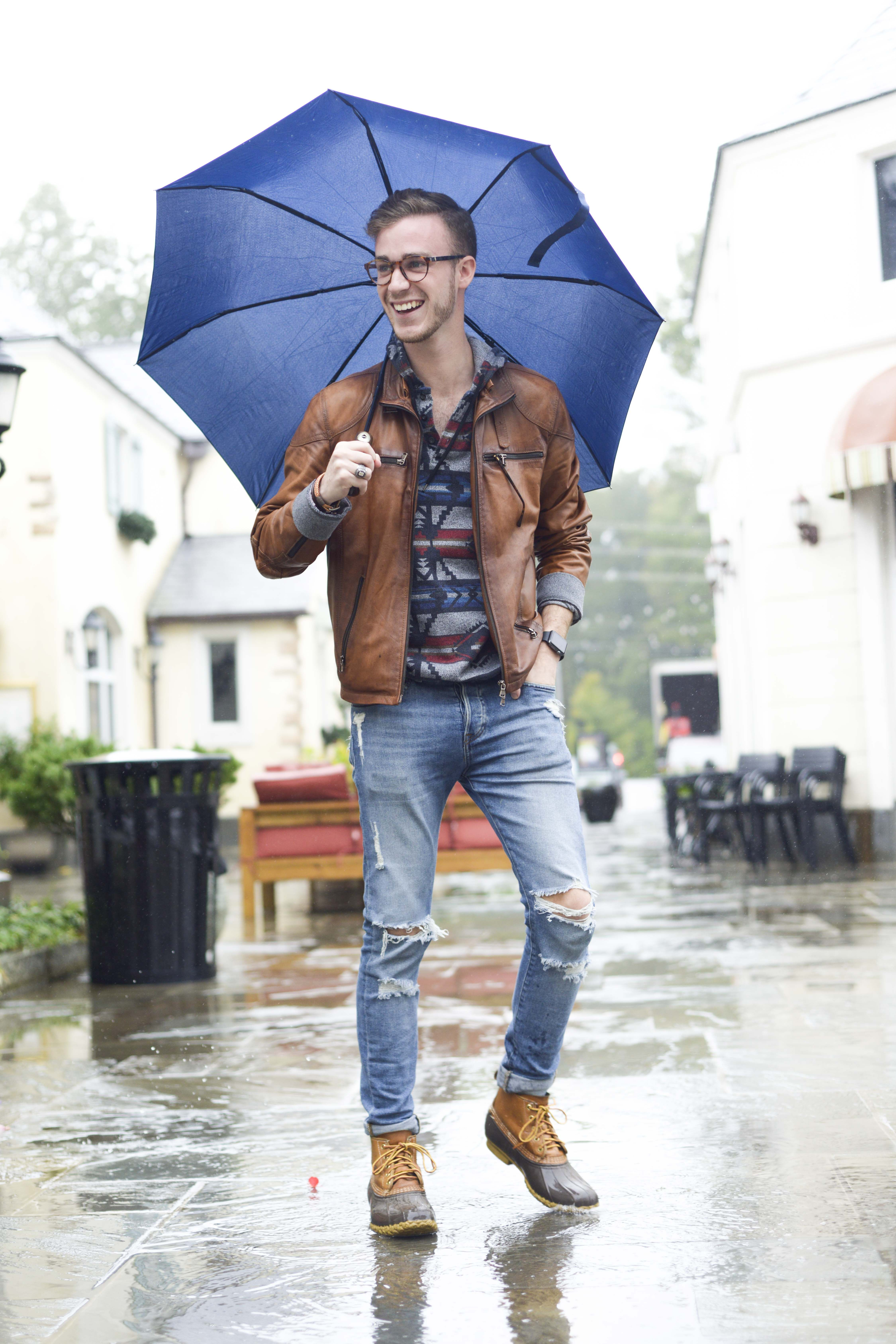 Rain Rainy Day Male Model Menu0026#39;s Fashion Duck Boots Leather Jacket Hoodie Distressed Jeans Outfit ...