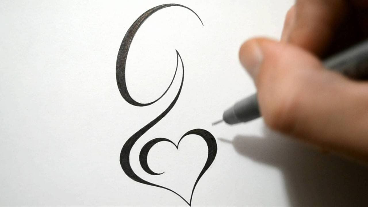 Tattoo Calligraphy G Simple Design Initial Designing StyleTattoos 4LARj5qc3