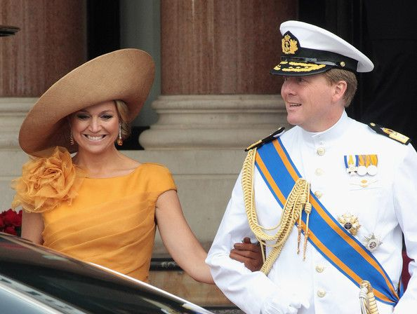Princess Maxima of the Netherlands and Prince Willem-Alexander are seen leaving the Hotol de Paris to attend the religious ceremony of the Royal Wedding of Prince Albert II of Monaco to Charlene Wittstock in the main courtyard on July 2, 2011 in Monaco, Monaco.