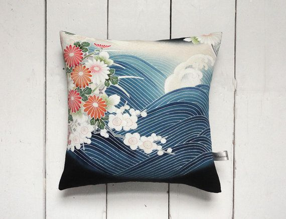 Hand painted Vintage Kimono Fabric Cushion Pillow. Tsunami. Japan. Japanese design. Chrysanthemums. Cherry blossom. Home decor. Vintage home