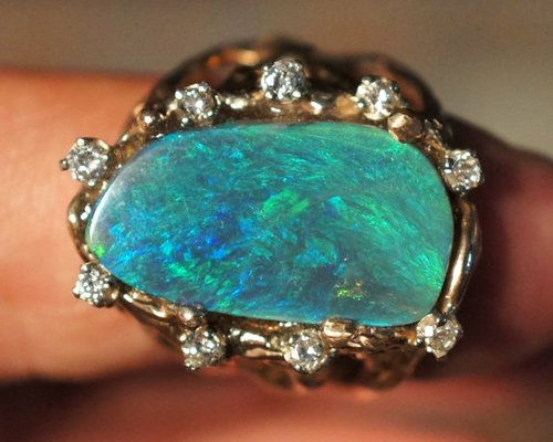 allaboutrings:  Fabulous Artistic Australian Black Opal 14k Gold and Diamond ring