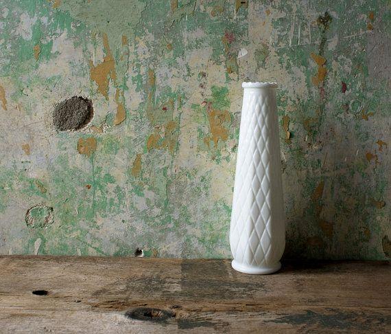 Vintage White Milk Glass Bud Vase / EO Brody by NostalgiaWarehouse, $16.00