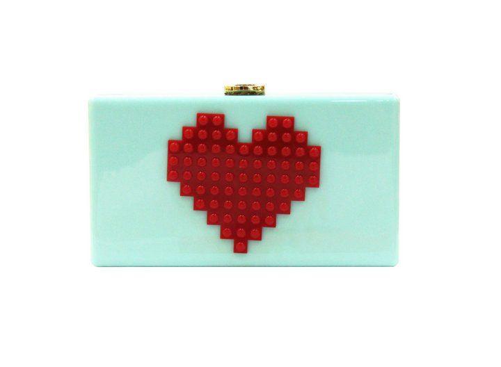 Heart Shape Acrylic Box Clutch Bag