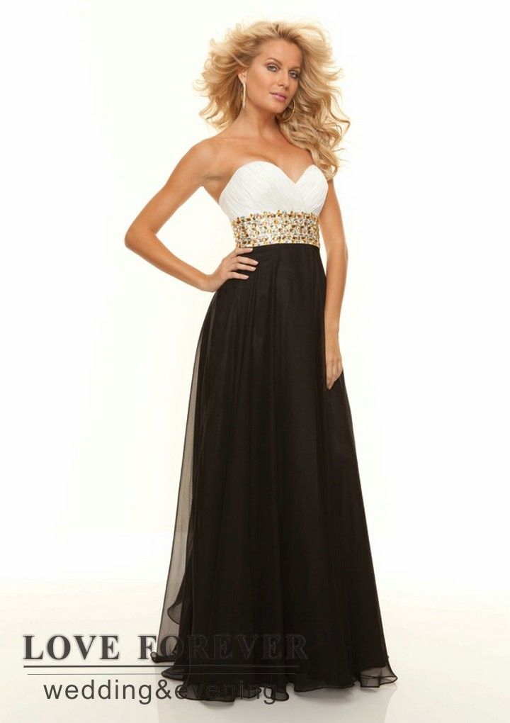black and white evening gowns | ... New Trend With Gold Beading Long ...