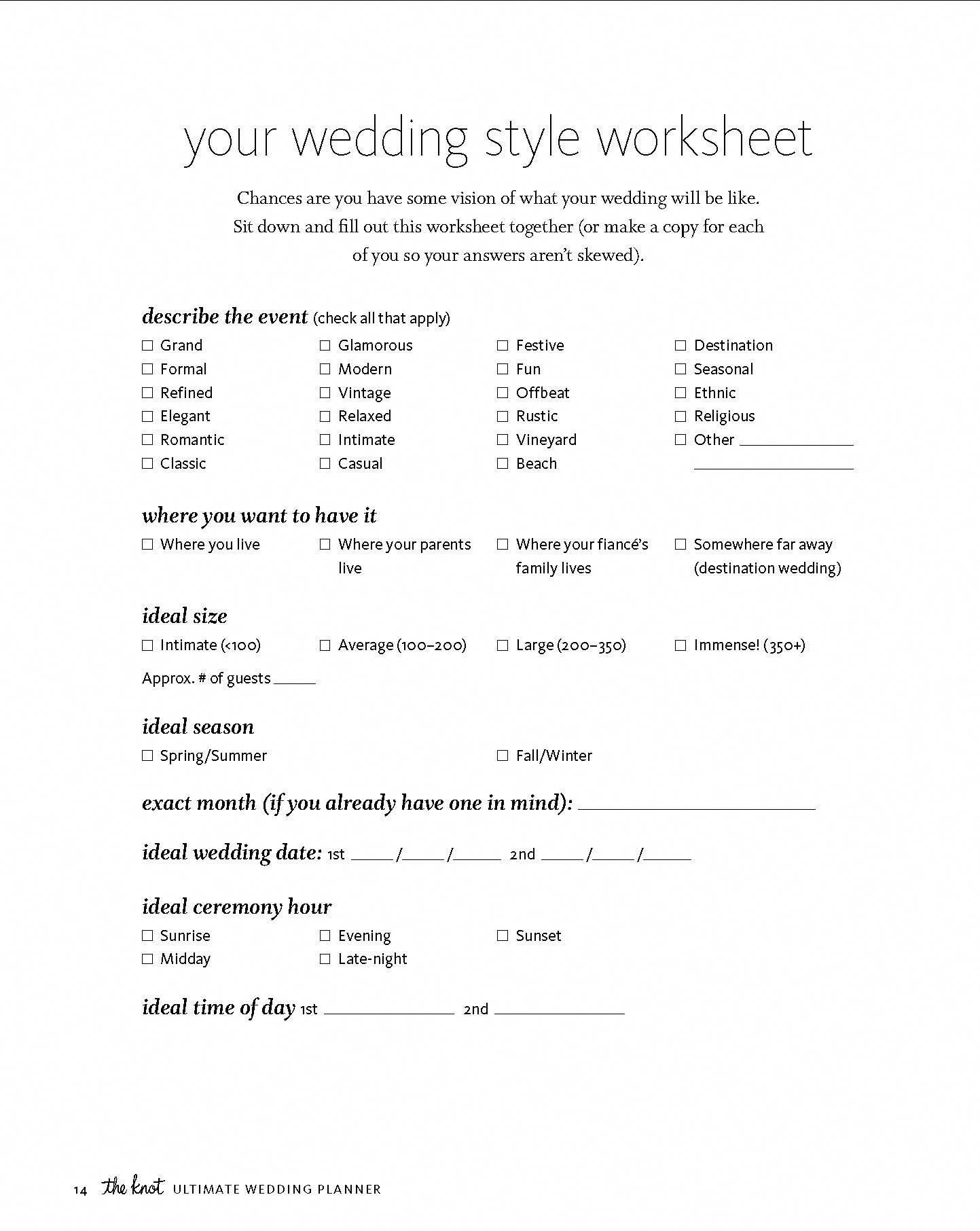 Reprinted From The Knot Ultimate Wedding Planner Amp Organizer Binder Edition Worksheets