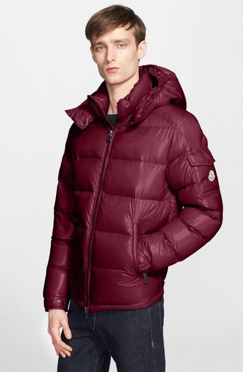 ddfe1dcb7 Moncler Men's Maya Lacquered Down Jacket 2 Burgundy | Coat, Jacket ...