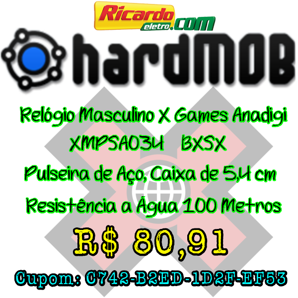 [Ricardo Eletro] Relógio Masculino X Games Anadigi - XMPSA034 BXSX - R$ 80,91