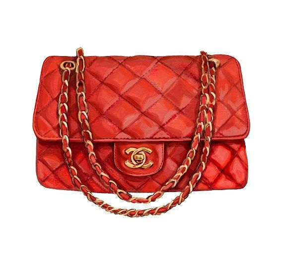 Chanel Bag Art Print Red Vintage Quilted di ...