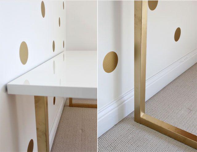 jetzt wird s goldig glamour s ikea schreibtisch pimpen ikea hacks pimps blog new. Black Bedroom Furniture Sets. Home Design Ideas