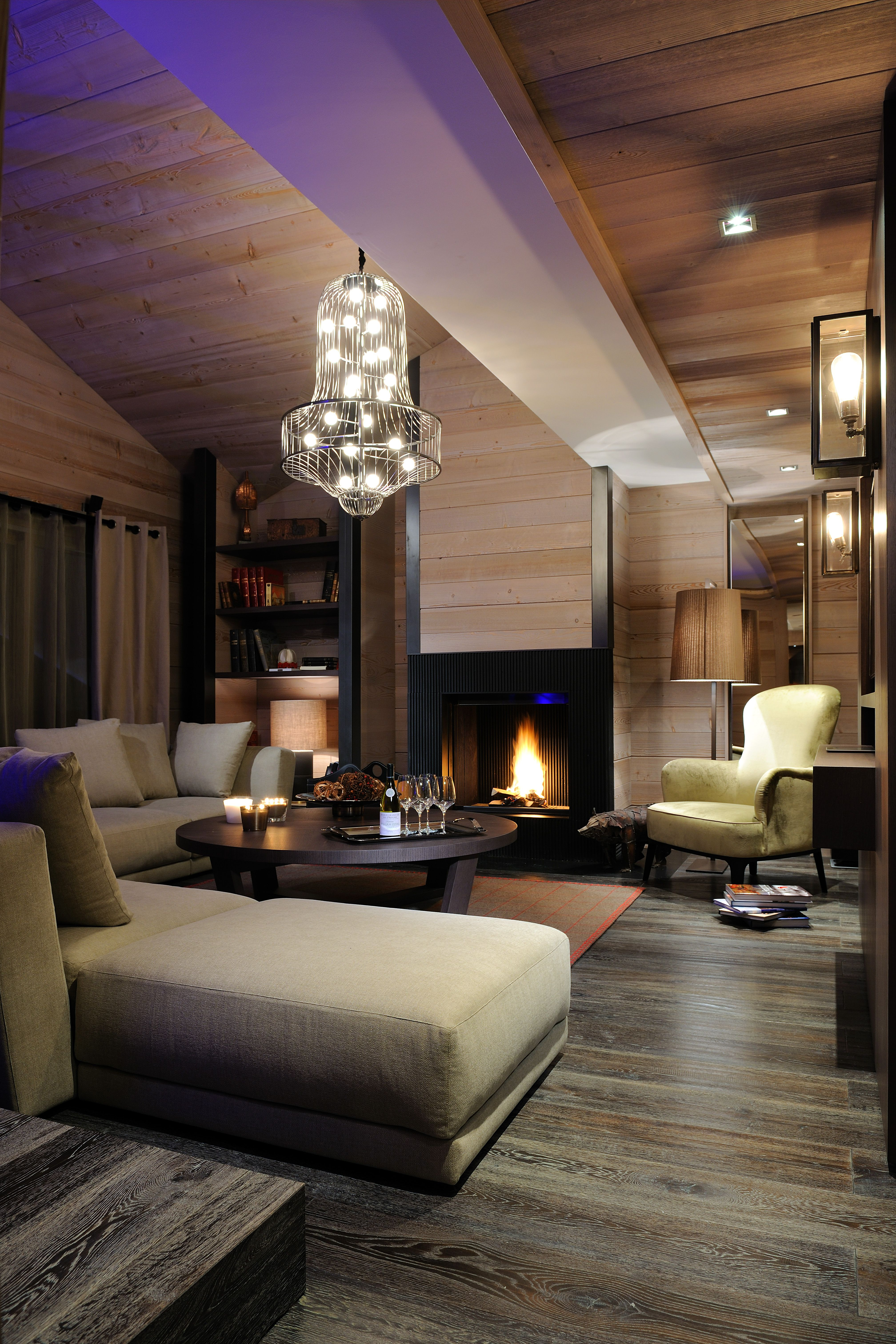 The Ruby Apt. living room at Grandes Alpes, Private Hotel, Courchevel 1850