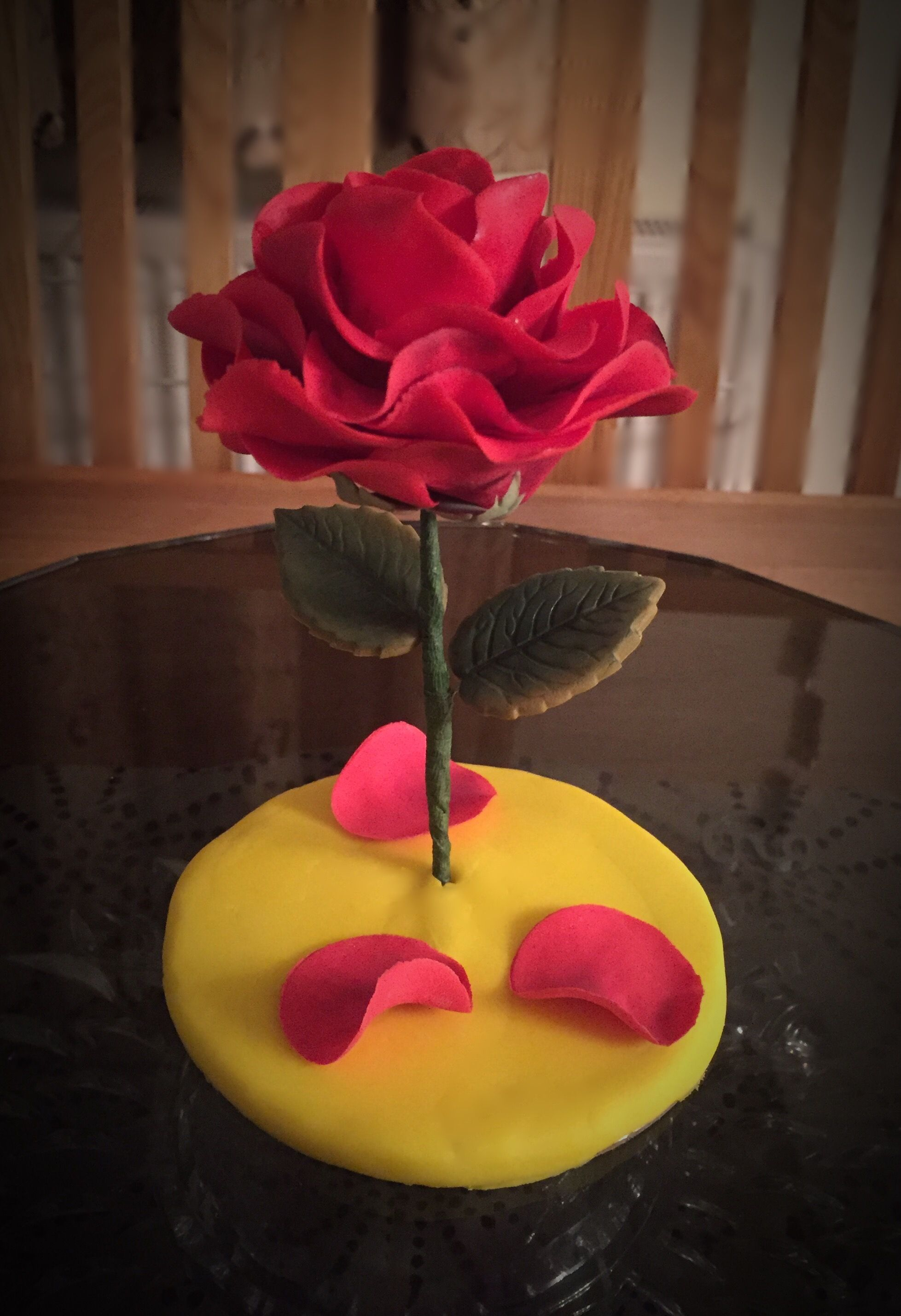 Beauty and the beast rose cake topper. A tale as old as ...