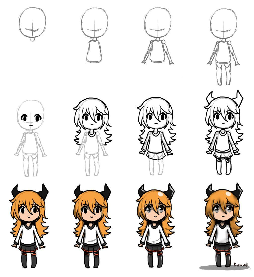 draw chibi step by step by pushimo drawing ideas