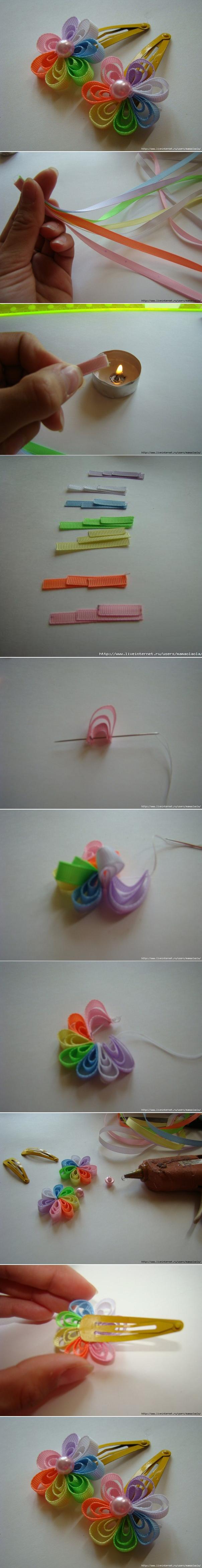 DIY Ribbon Flower Hair Clip