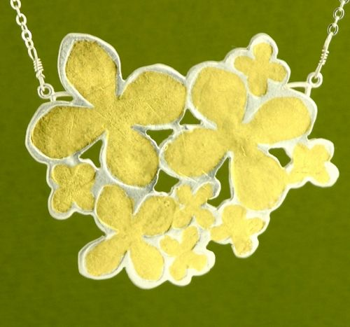 'Golden Hydrangea Pendant' handmade in sterling silver and 23K gold leaf by Garden of Silver.