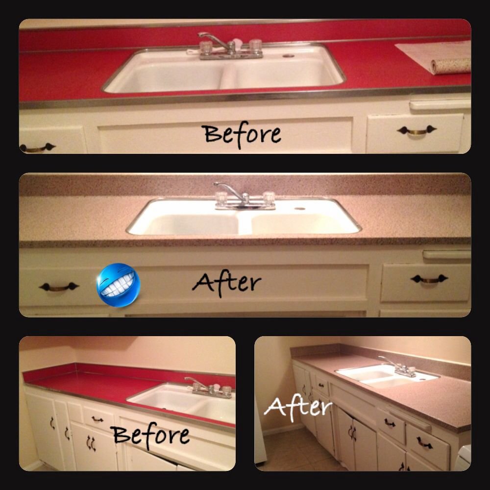 ConTact Paper Counters DIY ;) My Husband And I Couldnu0027t Live In Our Rental  Home With Red Countertops So We Decided To Cover It Up Wit ConTact Paper  And It ...