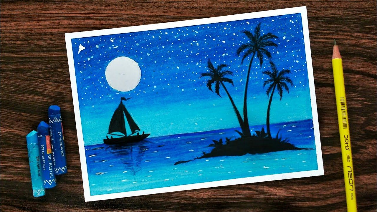 How To Draw Scenery Of Moonlight With Oil Pastel Step By Step Oil Pastel Drawings Oil Pastel Drawings Easy Oil Pastel Colours