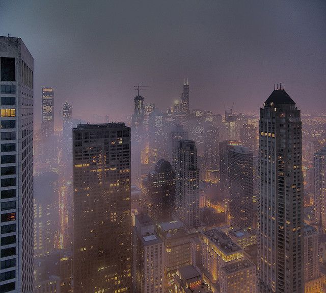 Chicago in a foggy night