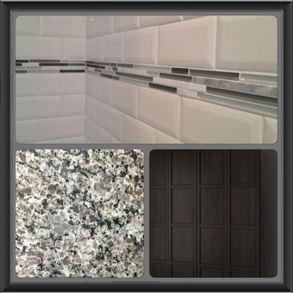 New Caledonia Granite Espresso Cabinets White Subway
