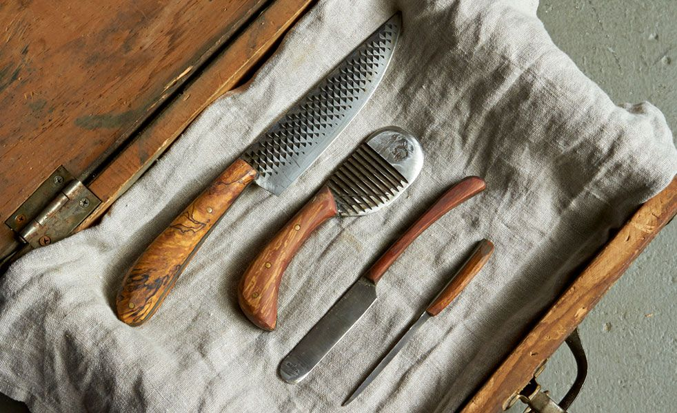 The stunning knives are crafted in Brooklyn from old horse grooming supplies.